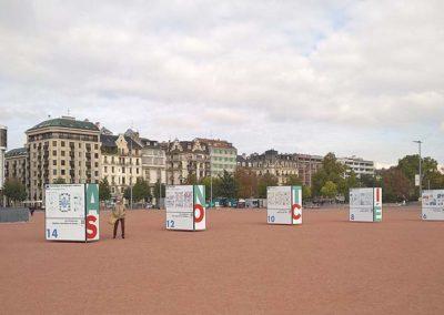 support expo photos extérieur Genève